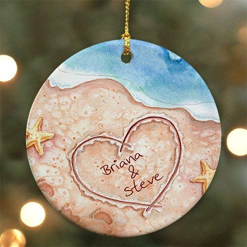 (weewen Personalized Couples Beach Christmas Ornament Personalized with Names Written in The Sand Decorative Xmas Ornament 2018 Farmhouse Collectible)