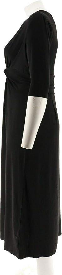 GILI 3//4 Slv Twist Front Maxi Dress Noir Black M NEW A302109