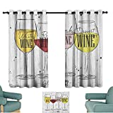 ParadiseDecor Wine,Energy Saving Curtains Four Main Types of Wine with Their Names Glasses Vintage Rustic Wood Backdrop Drawing 100'x96' Nursery and Kids Bedroom Curtains