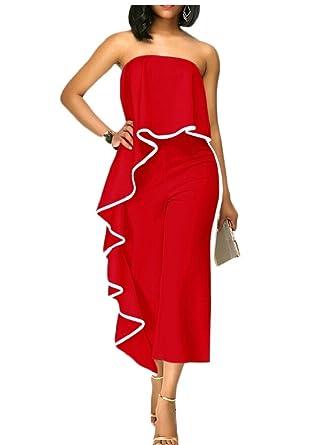 d1663f7f597d Gocgt Women Sexy Off Shoulder Strapless Ruffle High Waist Wide Leg Long  Jumpsuit Romper Red L