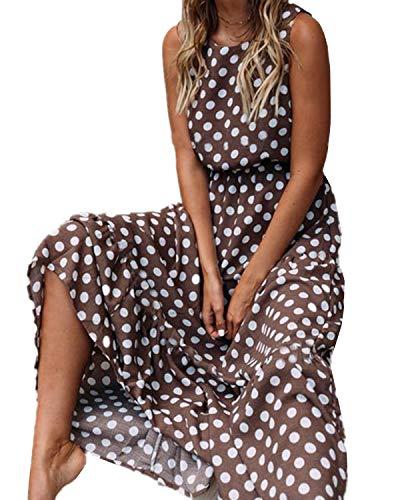 YHBAO Women's Vintage Polka Dot Printing Sleeveless Long Dress Evening Party Sexy Dress (Coffee, X-Large)