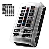 MICTUNING 12-Circuit Blade Fuse Block,12-Way Fuse Box Holder 30A Per Circuit with LED Indicator Waterproof Durable Protection Cover Sticker Lable For Automotive Car Boat Marine SUV