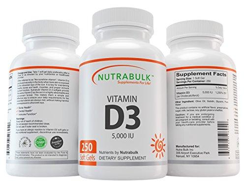 NutraBulk Vitamin D3 5,000IU Soft Gels - 250 Count