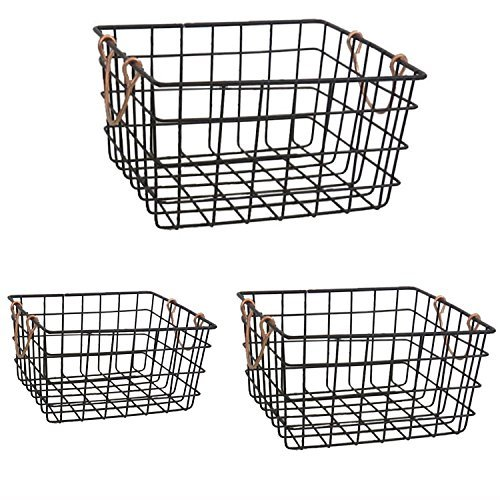 The Nifty Nook   Wire Nesting Baskets   Shabby Chic French Country Style   Home Decor   Utility Storage Bins   Great for Household Organization   Black Finish with Copper Handles   Set of 3   Square