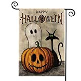 AVOIN Happy Halloween Garden Flag Vertical Double Sized, Spooky Ghost Pumpkin Jack O'Lantern Black Cat Burlap Yard Outdoor Decoration 12.5 x 18 Inch