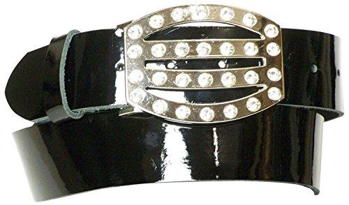 Articolo Pelle Donna Lacca Da In Cintura Nero Fibbia Conveniente 17878 Cm Argento Vera Luccicante Strass 4 Con Alta Fronhofer 4qZYw