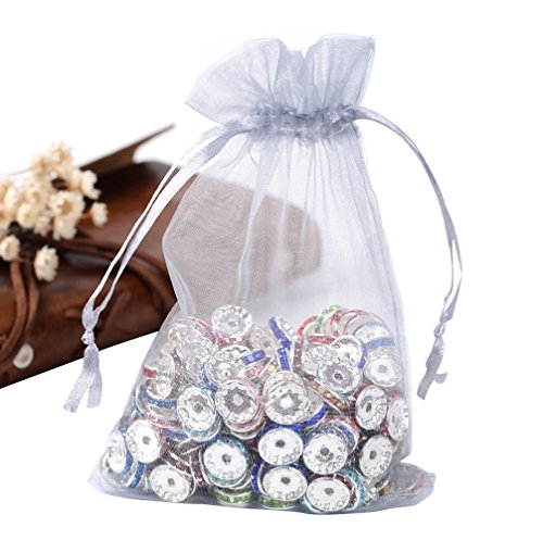 Pandahall 100PCS 4x6 Inches LightGrey Organza Gift Bags with Drawstring