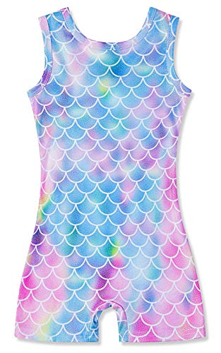 Toddler Girls One Piece Mermaid Graphic Gymnastics Leotards With Short Size 3t 4t Quick Dry Activewear Biktards Sparkly Athletic Dance Clothes for Kids 3-4 T (Girls Leotards Gymnastics 4t)