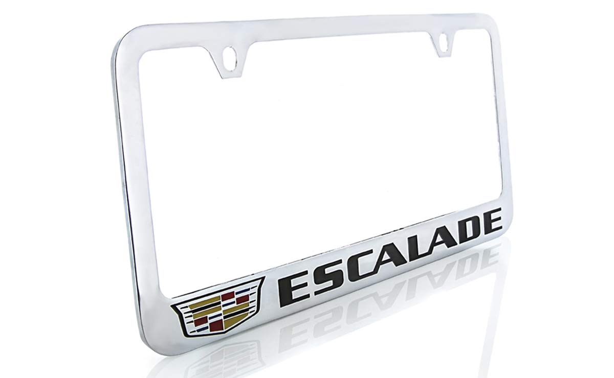 Baronlfi Cadillac Escalade with Crest Brass License Plate Frame with Chrome Finish 2 Hole