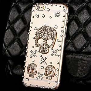 QHY Fashion Skull Rhinestone Transparent PC Hard Case for iPhone 6 Plus
