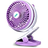 Clip On Desk Fan Mini Table Personal Fans USB or Battery Powered, Quiet Design,6 Inch, Purple