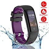 READ New Smart Fitness Tracker, Smart Watch with Blood Pressure Heart Rate Sleep Pedometer Camera Remote Shoot Blood Oxygen Monitor Smart Wristband Bracelet for Bluetooth Andriod and iOS (G16-PURPLE)