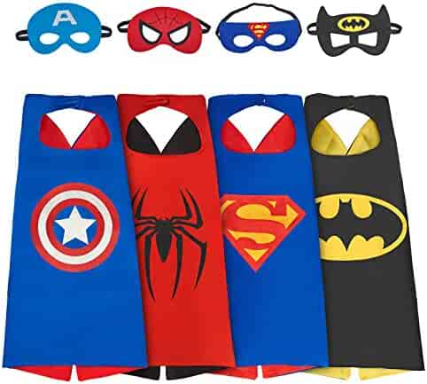 Babylian Superhero Dress Up Costume,4 Set of Double-Sided Satin Capes with Felt Masks for Kids