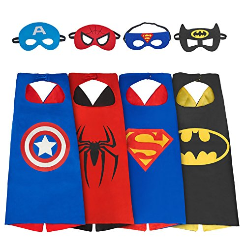 Babylian Superhero Dress Up Costume,4 Set of Double-Sided Satin Capes with Felt Masks for Kids (4 -