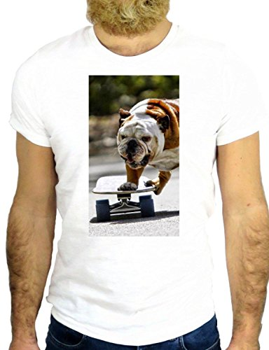 T SHIRT JODE Z2057 DOG SKATE BULLDOG CITY ROCK FUNNY COOL FASHION NICE GGG24 BIANCA - WHITE M