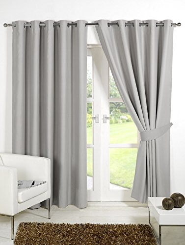Pair Of Silver Grey 90quot Width X 108quot Drop Supersoft Thermal Blackout Curtains