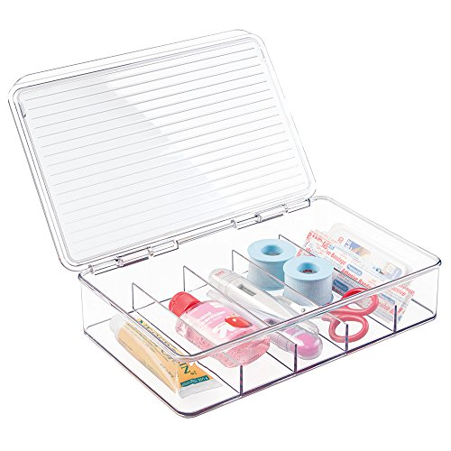 mDesign Storage Box Organizer First Aid Kit, Medicine, Medical, Dental Supplies - 5 Compartments, Clear