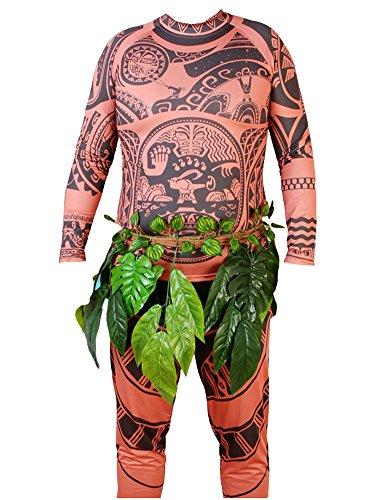 Maui Tattoo T Shirt Cosplay Costumes (L, Brown)