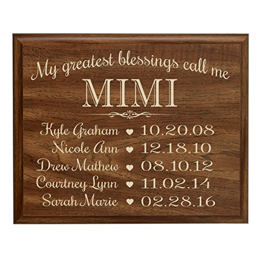 or Mimi with Family Established Year wall plaque with children's names and birth dates to remember My Greatest blessings call me Mimi by Dayspring Milestones (12x15, Walnut) (Established Date Plaque)