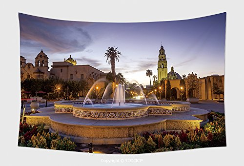 Home Decor Tapestry Wall Hanging San Diego S Balboa Park At Twilight In San Diego California Usa 243877948 for Bedroom Living Room Dorm (Downtown San Diego Halloween)
