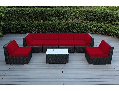Ohana Collection 7 Piece Ohana Outdoor Patio Wicker Sectional Sofa Set Sunb