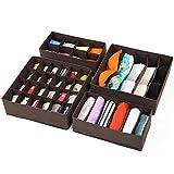 SONGMICS Foldable Storage Box Bra Underwear Closet Organizer Drawer Divider Kit Set of 4 Dark Brown URUS04K