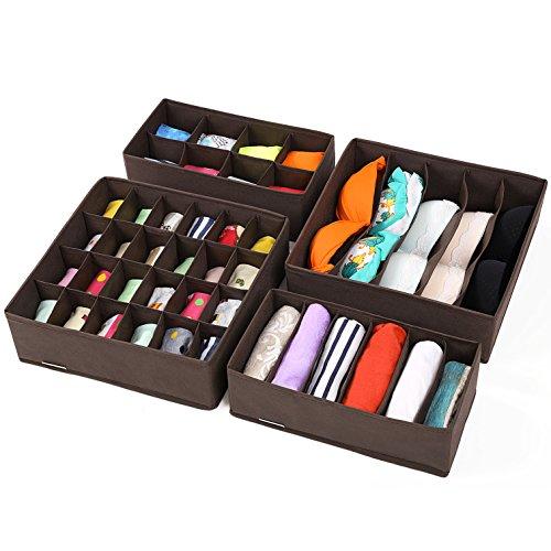 SONGMICS Closet Underwear Organizer Drawer Divider for Bras Panties Socks Ties, Set of 4, Brown (Drawers Bottom Box)