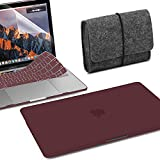 GMYLE MacBook Pro Touch Bar 13 inch Case 2018/2017/2016 Release A1989/A1706/A1708, 4 in 1 Bundle Burgundy Red Matte Set Plastic Hard Cover with Keyboard Skin, Felt Storage Pouch Bag & Screen Protector