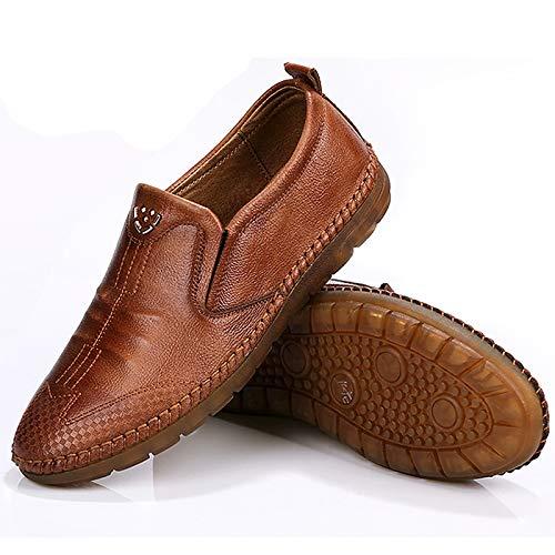 Fuxitoggo Herren Slip auf Loafers Soft Comfort Sohle Rutschfeste Casual Breathable Comfort Soft Driving Schuhes (Farbe : Schwarz, Größe : EU 44) Braun 63293c