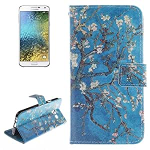 Plum Blossom Pattern Double Sided Print Leather Case with Holder & Card Slots & Wallet for Samsung Galaxy E5 / E5000