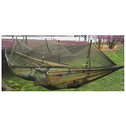 SODIAL ( R )ダブル人旅行アウトドアキャンプテントHangingハンモックベッド& Mosquito Netグリーン B07331TX31  迷彩