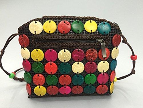 CL frauen handgefertigte kokosnuss mode umhängetasche nationalen wind reisen memorial diagonal paket handtasche brieftasche (Color 12)