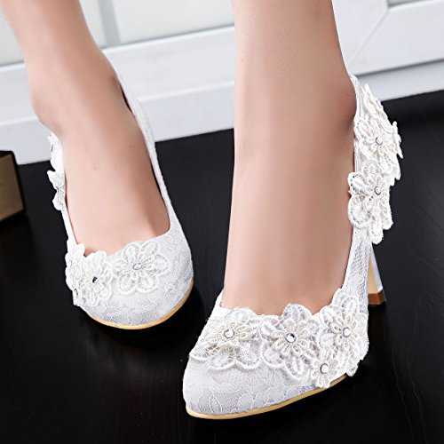 ElegantPark Women Vintage Closed Toe Pumps High Heel Flowers Lace Wedding Bridal Dress Shoes Ivory 9vBWcmgvnY