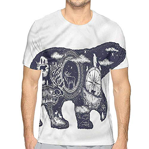 Mens t Shirt Cabin,Polar Bear Tattoo Art Style HD Print t Shirt L -