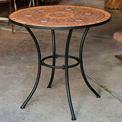Terra Cotta Bistro Table - StarSun Depot Round Outdoor Patio Bistro Table with Terracotta Mosaic Tiles and Black Metal Frame