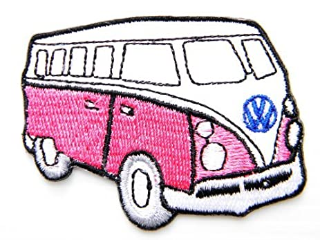 Pink VW Volkswagen Van Bus HippieJacket Shirt T Patch Sew Iron On Logo Embroidered