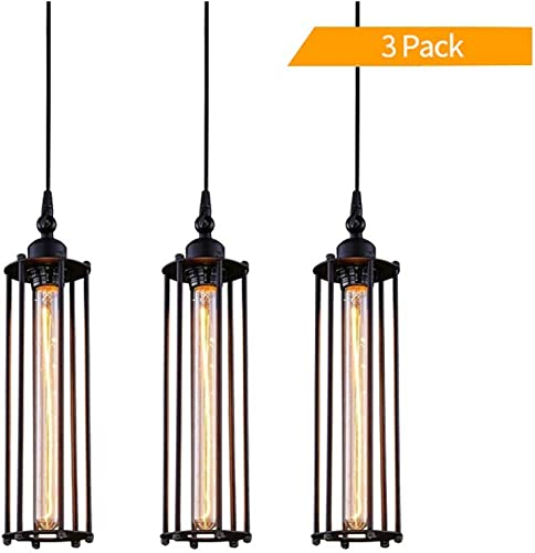 PIHAPPY Industrial Metal Pendant Light Fixture, Rustic Hanging Ceiling Lights, Vintage Cage Lighting for Kitchen Island Dining Room Farmhouse 3 Pack Without BLUBS Black