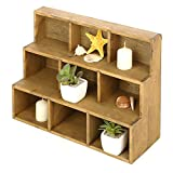 MyGift Small Rustic Wood Display Rack, 3 Tier Wall-Mount Shadow Box Shelves, Brown