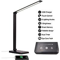 Lámpara Escritorio LED, Lámparas de Mesa USB Recargable con Temporizador, Plegable Luz con 5 Modos &5 Niveles de Brillo…