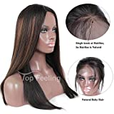 Cheap TopFeeling Glueless Lace Front Wigs Human Hair For Black Women Ombre Human Hair Wig Straight Brazilian Wig #1b/33/30 Highlight
