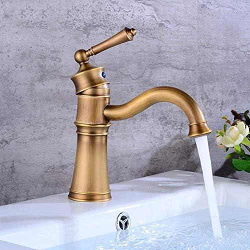 BXU-BG タップアメリカのメタル浴室の洗面台のミキサー銅アンティークヨーロピアンホットとコールド360°回転テーブル流域のレトロな蛇口セットブロンズ水