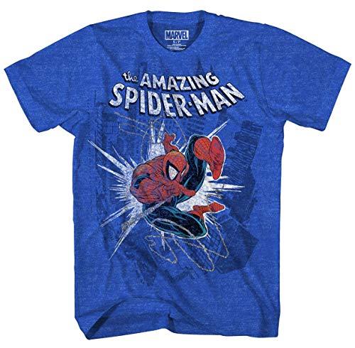 Marvel Boys' Big Amazing Spider-Man T-Shirt, Royal Heather, Large