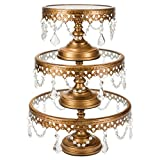 Victoria Antique Gold Cake Stand Set of 3, Round Glass Plate Metal Dessert Cupcake Pedestal Wedding Party Display with Crystals