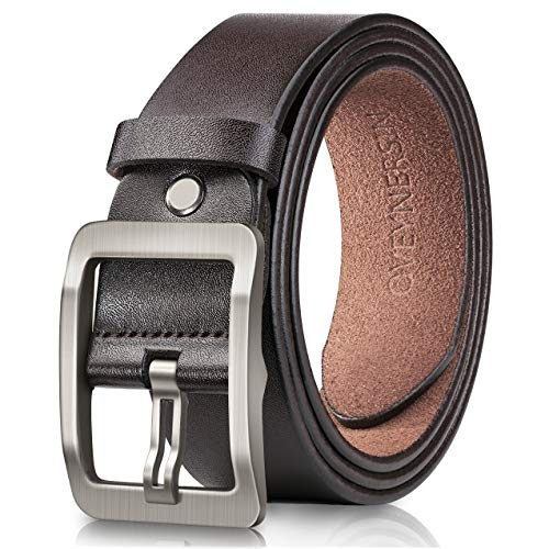 Mens Classic Single - Men's Belt, OVEYNERSIN Genuine Leather Causal Dress Belt for Men with Classic Single Prong Buckle lenght 43