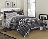 Loft Style Houndstooth Ultra Soft Microfiber Bedding Comforter Set, Gray, Full by CHMJE