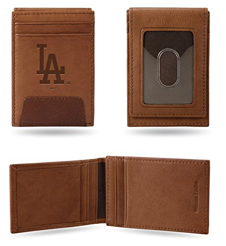 Rico Industries, Inc. Los Angeles Dodgers Deluxe Brown Leather Money Clip Front Pocket Wallet Baseball