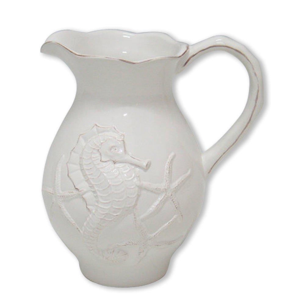 Blue Sky Ceramic Seahorse Pitcher, 7.5 x 5.5 x 8.5, White by Blue Sky Ceramic
