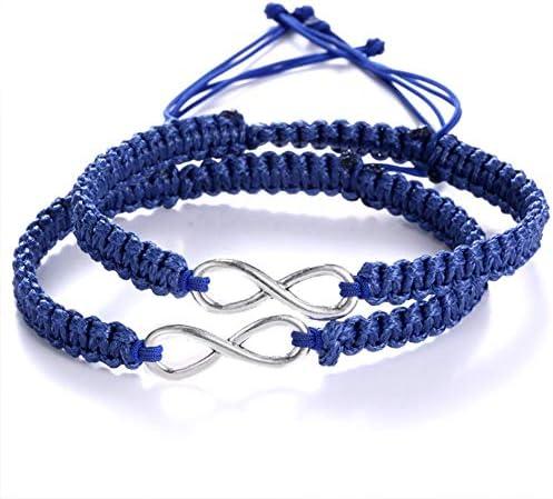 ECOLOG 2Pcs 8 Infinity Braided Bracelets Couple Braided (Navy)