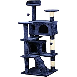 "Yaheetech 53.5"" Cat Tree Tower Condo Furniture Scratch Post for Kittens Pet House Play Navy Blue"