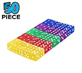 XCT 16mm 6-Sided Game Dice Set - Assorted Translucent Colorful Dice in Red, Yellow, Blue,Green,Purple for Board Games, Activity, Gaming Theme, Party Favors, Toy Gifts (50 Piece/Set)